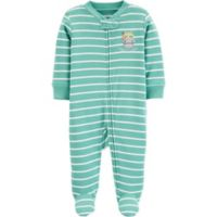 carter's® Preemie Stripe Hippo Footie in Green