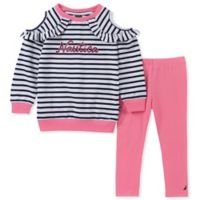 Nautica® Size 2T 2-Piece Long Sleeve Striped Cold Shoulder Top and Pant Set
