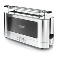 Russell Hobbs 2-Slice Glass Accent Long Toaster in Stainless Steel/Black
