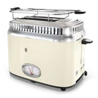 Russell Hobbs 2-Slice Retro-Style Toaster in Cream/Stainless Steel