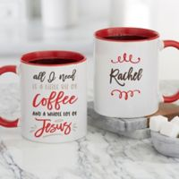 A Little Bit of Coffee and a Whole Lot of Jesus Personalized Coffee Mugs in Red