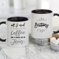 A Little Bit of Coffee and a Whole Lot of Jesus Personalized Coffee Mugs in Black