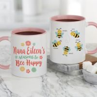 Bee Happy Personalized 11 oz. Coffee Mug in Pink