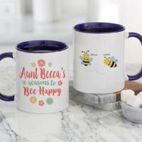 Bee Happy Personalized 11 oz. Coffee Mug in Blue