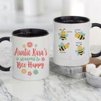 Bee Happy Personalized 11oz. Coffee Mug in Black