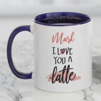 Love You a Latte Personalized Coffee Mug in Blue