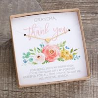 Thank You Gold Heart Necklace with Personalized Floral Display Card