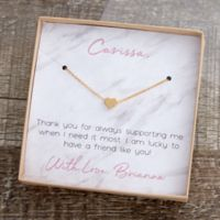 Gold Heart Necklace With Personalized Marble Message Display Card