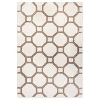 Dynamic Rugs Silky Shag Honeycomb 5'3 x 7'7 Area Rug in White/Beige