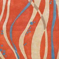 Surya Modern Swirl 2'6 x 8' Runner in Orange/Blue