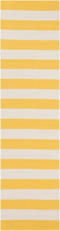 Surya City Park 2'6 x 10' Handcrafted Runner in Yellow/Ivory