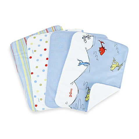 Dr. Seuss™ by Trend Lab® One Fish Two Fish Burp Cloth (Set of 4)