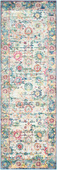 Surya Aura Floral 2'7 x 7'6 Loomed Area Rug in Sky Blue
