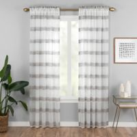 Kyoto 95-Inch Rod Pocket Sheer Window Curtain Panel in Black