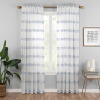 Kyoto 95-Inch Rod Pocket Sheer Window Curtain Panel in Indigo