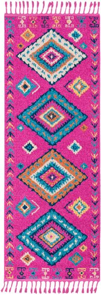 Surya Love Southwest 7'3 Runner in Bright Pink/Sky Blue