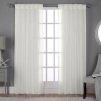 Belgian Pinch Pleat 96-Inch Back Tab Window Curtain Panel Pair in Snowflake
