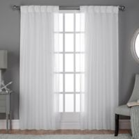 Belgian Pinch Pleat 84-Inch Back Tab Window Curtain Panel Pair in Winter White