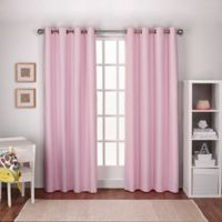 Textured Linen 96-Inch Grommet Top Window Curtain Panel Pair in Bubblegum Pink