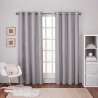 Textured Linen 84-Inch Grommet Top Window Curtain Panel Pair in Dove Grey