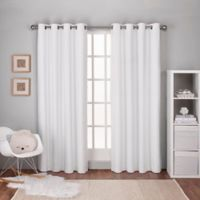 Textured Linen 84-Inch Grommet Top Window Curtain Panel Pair in Winter White