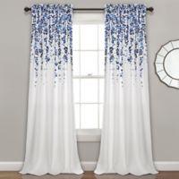 Weeping Flower 84-Inch Rod Pocket Window Curtain Panel Pair in Navy