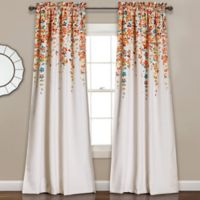 Weeping Flower 95-Inch Rod Pocket Window Curtain Panel Pair in Turquoise