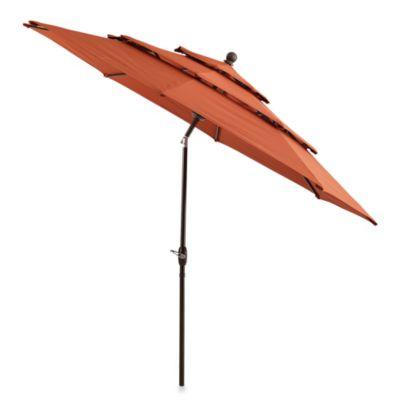 Marvelous 10 Foot Round Triple Vent Aluminum Umbrella In Brick