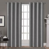 Whitby 108-Inch Grommet Top Window Curtain Panel Pair in Black Pearl