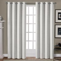 Whitby 108-Inch Grommet Top Window Curtain Panel Pair in White/Gold