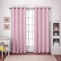 Textured Woven 84-Inch Grommet Top Window Curtain Panel Pair in Bubblegum Pink