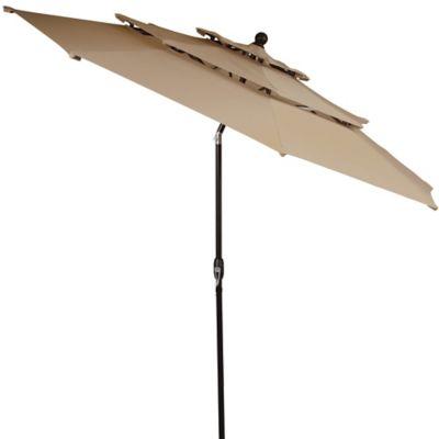 10 Foot Round Triple Vent Aluminum Umbrella In Linen