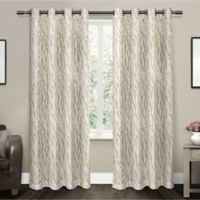 Oakdale 84-Inch Grommet Top Window Curtain Panel Pair in Taupe