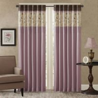 Madison Park Serene Embroidered 84-Inch Rod Pocket Window Curtain Panel in Purple