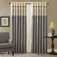 Madison Park Serene Embroidered 84-Inch Rod Pocket Window Curtain Panel in Yellow