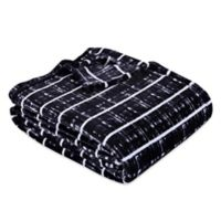 Berkshire Blanket® VelvetLoft® City Stripe King Throw Blanket in Black