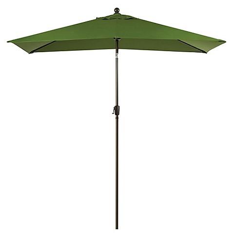 11 Foot Rectangular Aluminum Solar Patio Umbrella In Olive