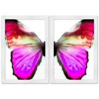 Pearl Pink Butterfly 14-Inch x 20-Inch Framed Wall Art (Set of 2)