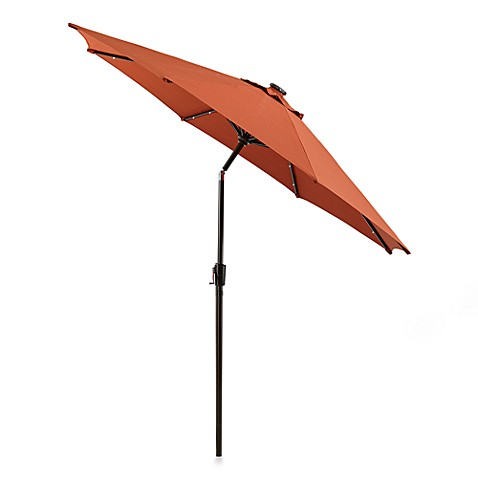 9 Foot Round Solar Aluminum Patio Umbrella In Brick Bed