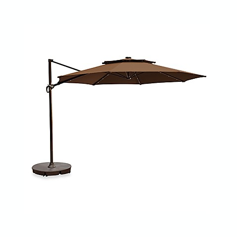11 Foot Round Solar Cantilever Umbrella In Latte Bed