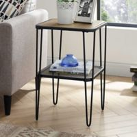 Forest Gate Urban Industrial Side Table with Hairpin Legs in Rustic Oak