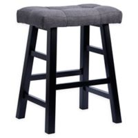 Saddle 24-Inch Bar Stool in Dark Grey/Black