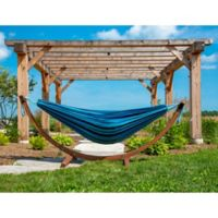 Vivere Blue Multicolor Double Cotton Hammock with Solid Pinewood Stand