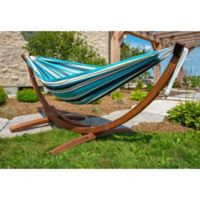 Vivere Blue Multicolor Sunbrella® Double Hammock with Solid Pinewood Stand