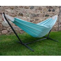 Vivere 9-Foot Double Hammock in Polyester Fabric with Stand in Aqua