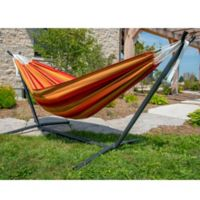 Vivere® 9-Foot Double Hammock in Sunbrella® Fabric with Stand in Sunset