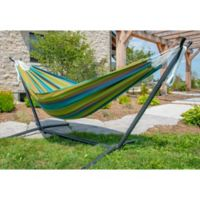 Vivere Double Sunbrella® Hammock and Stand Combo in Blue