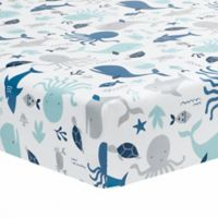 Lambs & Ivy® Ocean Blue Fitted Crib Sheet in Blue/White