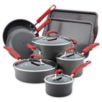 Rachael Ray® Hard-Anodized Nonstick 12-Piece Cookware Set with Cookie Sheets in Grey/Red