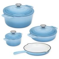 CS Kochsysteme™ XANTEN Enameled Cast Iron 7-Piece Cookware Set in Light Blue